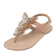 Shop for The Children's Place Girls Glitter Butterfly T Strap Sandals. Check out our great selection of kids clothes, baby clothes & more at the PLACE where big fashion meets little prices! Shoes Flats Sandals, Girls Sandals, T Strap Sandals, Sport Sandals, Girls Shoes, Women Sandals, Ladies Shoes, Flat Sandals, Shoes Women