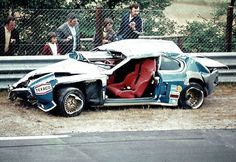 """The Ford Capri RS 3100 driven by Dieter Glemser after a heavy crash at """"Wehrseifen"""" Sport Cars, Race Cars, Ford Motorsport, Porsche 914, Ford Capri, Emergency Vehicles, Ford Motor Company, Ford Gt, Touring"""