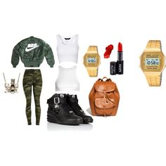 Geared up by bruceneriet on Polyvore featuring T By Alexander Wang, Jane Norman, NIKE, Madewell, Kiel Mead Studio, Casio and NYX