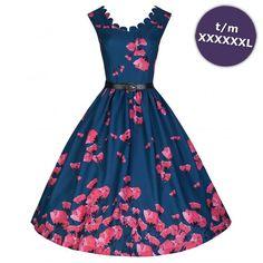 Swing Daria jurk met papaver bloemen print donkerblauw - Vintage, 50's, Rockabilly