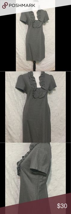 J Crew Grey Wool Career Dress Size 10 J Crew Wool Dress Size 10  Gently worn and in great condition.  Side Zipper Measurements when laid flat:  20.5 inches from armpit to armpit  18.5 inches across smallest part at waist  about 21.5 inches across widest part at hip  36.5 inches from top to bottom  Need a dress for a special occasion and don't want to spend a lot of money? Check out my other listings. You just might find the perfect dress!  Please feel free to contact me with any…