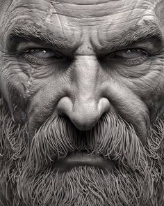 More shots from Kratos' face. A lot of it was added on shaders and textures but this is the base I sculpted before that process. The high… Wizard Tattoo, Old Man Portrait, Sculpture Art, Sculptures, Kratos God Of War, Blackout Tattoo, Old Faces, Viking Warrior, Braut Make-up