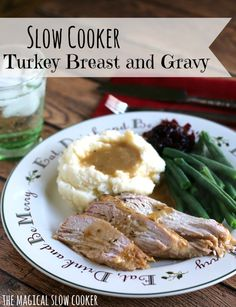 Slow Cooker Turkey Breast and Gravy l The Magical Slow Cooker Real Foods, Real Food Recipes, Slow Cooker Recipes, Crockpot Recipes, The Magical Slow Cooker, Slow Cooker Turkey, Protein Bars, Turkey Breast, Natural Treatments