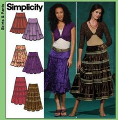 Sewing Pattern for a Tiered Peasant Boho Gypsy Flounced Skirt!