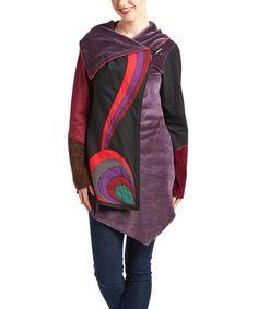 Loving this Black & Maroon Stripe Asymmetrical Wrap Fleece Jacket on…