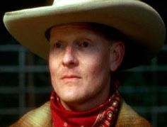The cowboy from Mulholland Drive.  I still can not figure out the purpose of this character. That is why he is  up here.  I still think about him after 10 years.