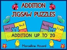ADDITION JIGSAW PUZZLES- SPRING EDITION -ADDITION UP TO 20- COMMON CORE ALIGNED