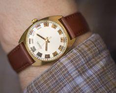 Elegant wrist watch for men gold plated AU 10 watch by SovietEra, $89.00