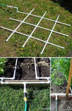Join 1/2″ PVC tubing in a grid and drill 1/16 inch holes into the PVC pipe to create an easy but efficient watering system