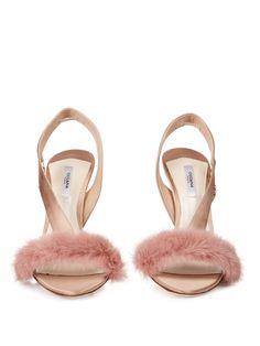 c9af39ceba3 Women s Natural L amazone Mink-trimmed Satin Sandals
