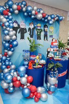 Festa Roblox – Arthur 9 anos 7th Birthday Party Ideas, Costume Birthday Parties, Birthday Photos, Birthday Party Decorations, Pastel Balloons, Its A Boy Balloons, Roblox Birthday Cake, Boy Birthday, Birthday Backdrop
