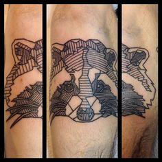 Raccoon head. Wraps a bit but you get the idea  #raccoon #geometric #linework #blackwork #black #ink #tattoo #ttechneedles