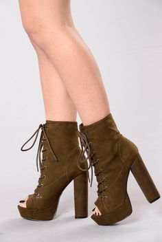 - Available in Black and Olive - Platform Bootie - Lace Up - Open Toe - 5 1/4 Heel - 1 Inch Platform