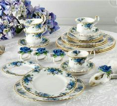 """Famous China Patterns royal albert """"moonlight rose."""" it is very similar to their famous"""