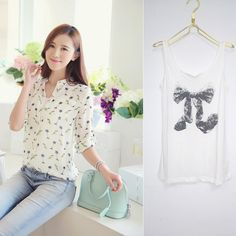 2014 new Casual stand Collar Two - piece printed shirt chiffon blouses