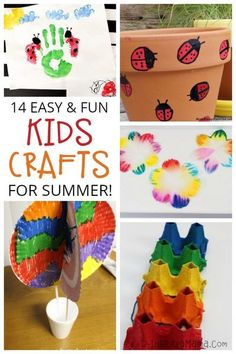 14 Easy Crafts for Kids to Fill the End of Summer and Kiss Boredom Goodbye! #kids #kidscrafts #crafts #summer #fun Easy Crafts For Kids Fun, Fun Arts And Crafts, Summer Activities For Kids, Cute Crafts, Summer Kids, Toddler Crafts, Diy For Kids, Kids Crafts, Wood Crafts