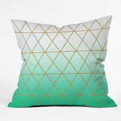 Bring a bit of comfort to your home while infusing a gorgeously textured look with this Leah Flores geometrically inspired throw pillow. A gradient-green color delivers vibrancy atop a sofa or bed. Se