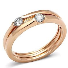 YourJewelleryBox TK1491pb DOUBLE SOLITAIRE CUBIC ZIRCONIA CZ RING WOMENS ROSE GOLD BAND STEEL ** You can get additional details at the image link. #Rings
