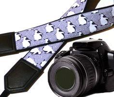 Camera strap penguins. Black and grey DSLR / SLR Camera Strap. Crossbody straps. Gift idea. 00066