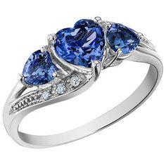 Bague+coeur+sertis+de+saphirs+de+laboratoires+-+diamants+totalisant+0.03+Carat+-+En+or+blanc+10K