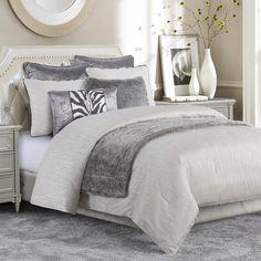 White And Silver Bedroom, Silver Bedroom Decor, Glam Bedroom, Master Bedroom, White Bedroom Set, Silver Room, Elegant Comforter Sets, Grey Comforter Sets, Oversized King Comforter