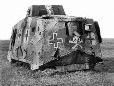 "Near the end of World War I Germany introduced the A7V tank in 1918 (the only tank used by Germany in WW1 operations). British forces respectfully called it the ""Moving Fortress"":"