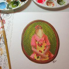"Lady Esperanza  8"" x 8"" acrylic ink on paper #birdportraits"