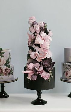 Wedding cake idea in black and pink.