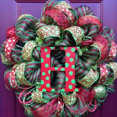 2013 Personalized Christmas Deco Mesh Wreath, Holiday Christmas Mesh Wreath #2013 #christmas #deco #mesh #wreath www.loveitsomuch.com