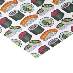Shop Japanese Food Sushi Rolls Salmon Nigri Tuna Tissue Paper created by rebeccaheartsny. California Roll Sushi, Japanese Food Sushi, Avocado Roll, Spicy Tuna Roll, Sushi Party, Kids Birthday Party Invitations, Custom Tissue Paper, Sushi Rolls, Small Gifts