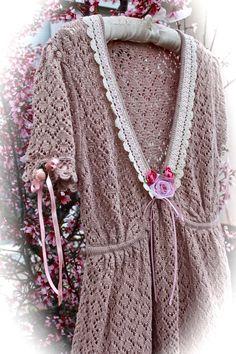 Boho Romantic Crocheted Short Dress Tea N'Roses Feminine Double Ruffled Sweet Mori Girl Mori Kei