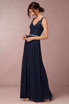 Dresses for Bridesmaids from BHLDN | Fleur Gown in navy blue