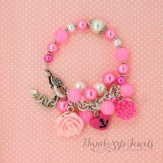 pink anchor heart bracelet navy wife bracelet nautical bracelet