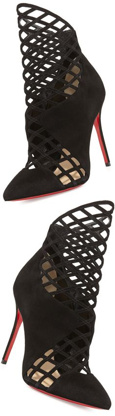 Christian Louboutin Mrs. Boulglione Cutout Red Sole Bootie