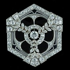 Art Deco Diamond and Enamel Hexagonal Pin, from Lang Antique & Estate Jewelry. www.langantiques.com/