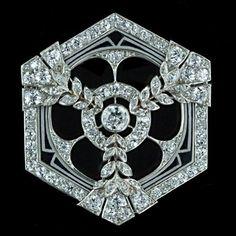 Art Deco Diamond and Enamel Hexagonal Pin, from Lang Antique & Estate Jewelry. www.langantiques.com/