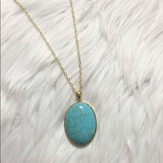 SALE Turquoise Pendant Necklace Beautiful pendant necklace. This piece will make you stand out in a good way and won't break the bank. The chain is approximately 15 inches long and the pendant is approximately 2 inches long. This necklace is Lead compliant. Let me know if you have any questions about this lovely piece. Forever Moon  Jewelry Necklaces