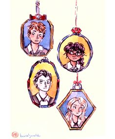Little watercolour Carry On portrait/amulet/things. I basically wanted to start drawing all the characters as soon as I began reading ^^