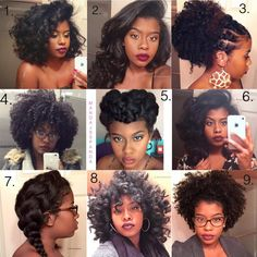 Versatility Queen! Some of my fave styles from 2015! Can't believe it's that time again! Which look is your fave? 1-9? TAG someone who needs natural hair inspo.! 1. Wand curls on straightened hair 2. Straightened hair with added clip-ins 3. Natural up-do using small black bands 4. Wash and go 5. Braided up-do 6. Straightened hair with my curl and straight technique 7. Two cute braids 8. Wand curls  9. Wash and go puff