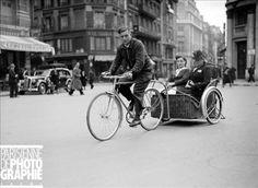 Guerre 1939-1945. Vélo-taxi à Paris, mai 1941.