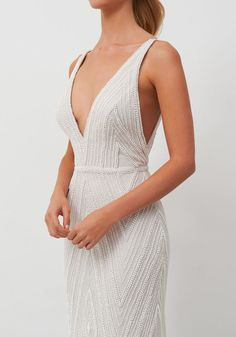 low cut art deco beaded wedding gown for elegant minimalist bride Jane Hill Bridal (Coming early Wedding Dresses For Sale, Bridal Dresses, Wedding Gowns, Beaded Wedding Dresses, Sheath Wedding Dresses, Unique Wedding Dress, Art Deco Wedding Dress, Second Wedding Dresses, V Neck Wedding Dress