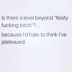 "Is there a level beyond ""fiesty bitch?"" Because I'd hate to think I've plateaued Quotes To Live By, Me Quotes, Funny Quotes, Funny Memes, Haha Funny, Hilarious, Funny Stuff, Funny Shit, Funny Sarcasm"