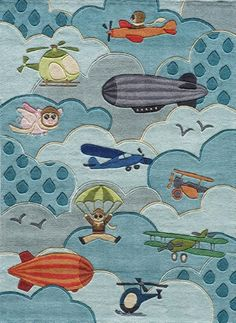 Momeni Rugs Contemporary Area Rug Lil Mo Whimsy Collection LMJ10 SKY 8'x10', Blue