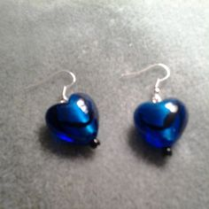 Blue Glass Heart Earrings | LOVE33 - Jewelry on ArtFire