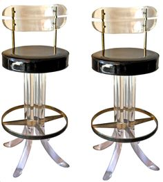 Set of 2 lucite and brass bar stools | From a unique collection of antique and modern stools at http://www.1stdibs.com/furniture/seating/stools/