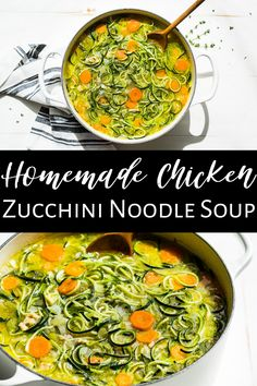 This Homemade Chicken Zucchini Noodle Soup is super easy to make, and it's perfect comfort food for colder weather. The zucchini noodles are delicious in this soup, and they add an extra helping of veggies making it even healthier. #chickensoup #zucchininoodles #glutenfree