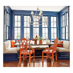 Sophisticated indigo and orange spotted on @housebeautiful! I love a booth, so this dining space is right up my alley and the chairs are everything!  #lovemyhome #preppyhome #verobeachchic #palmbeachchic #palmbeachregency #decorideas