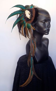 MADE TO ORDER Asymmetrical Skull & Feather Headresss. $250.00, via Etsy.