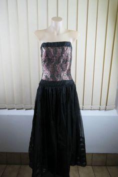 Size L 14 Ladies Black Strapless Dress Paisley Tulle Boho Chic Cocktail Wedding