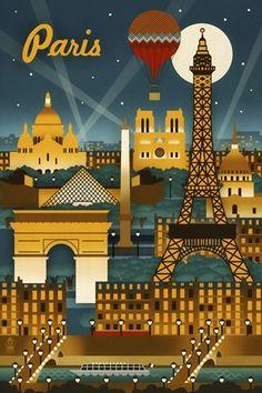 Framed Paris Evening And Balloon Print